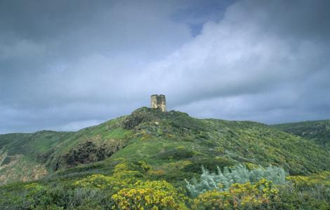 Tresnuraghes, paesaggio con la torre di Foghe