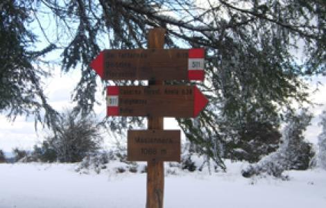 Segnaletica verticale lungo il sentiero innevato presso punta Masiennera