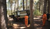 Operai Ente Foreste in postazione antincendio